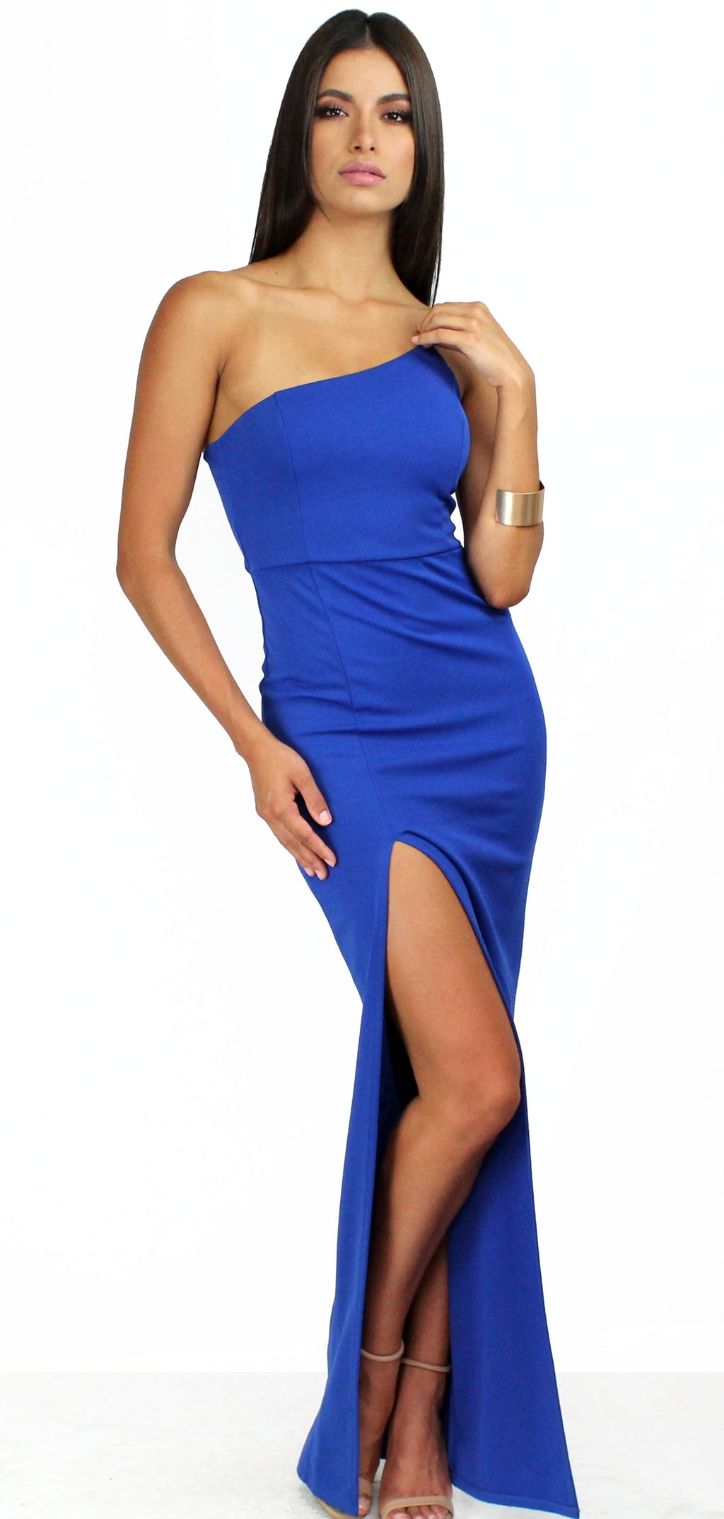Ariah Royal Blue One-Shoulder Maxi Dress