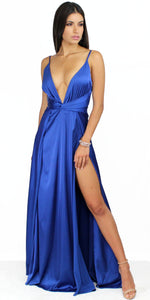 Only in Dreams Royal Blue Satin Formal Gown