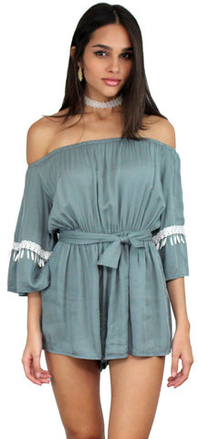 Field Day Sage Off The Sholder Romper
