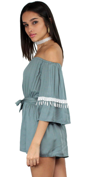 Field Day Sage Off The Shoulder Romper