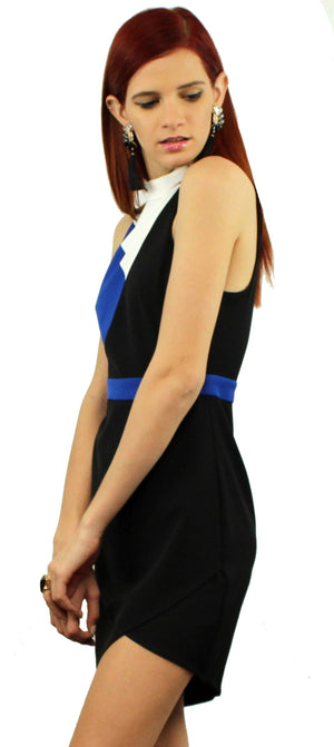 Show Off Colour Block Black Asymmetrical Dress