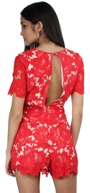 Palpitate V-Neck Red Lace Romper