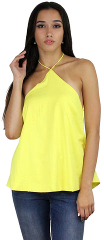 Sweet Fling Yellow Halter Top
