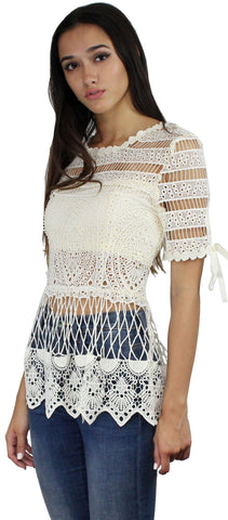 Best of Friends Crochet Cream Top