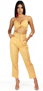 Accompany Me Caramel Pants Two-Piece Set