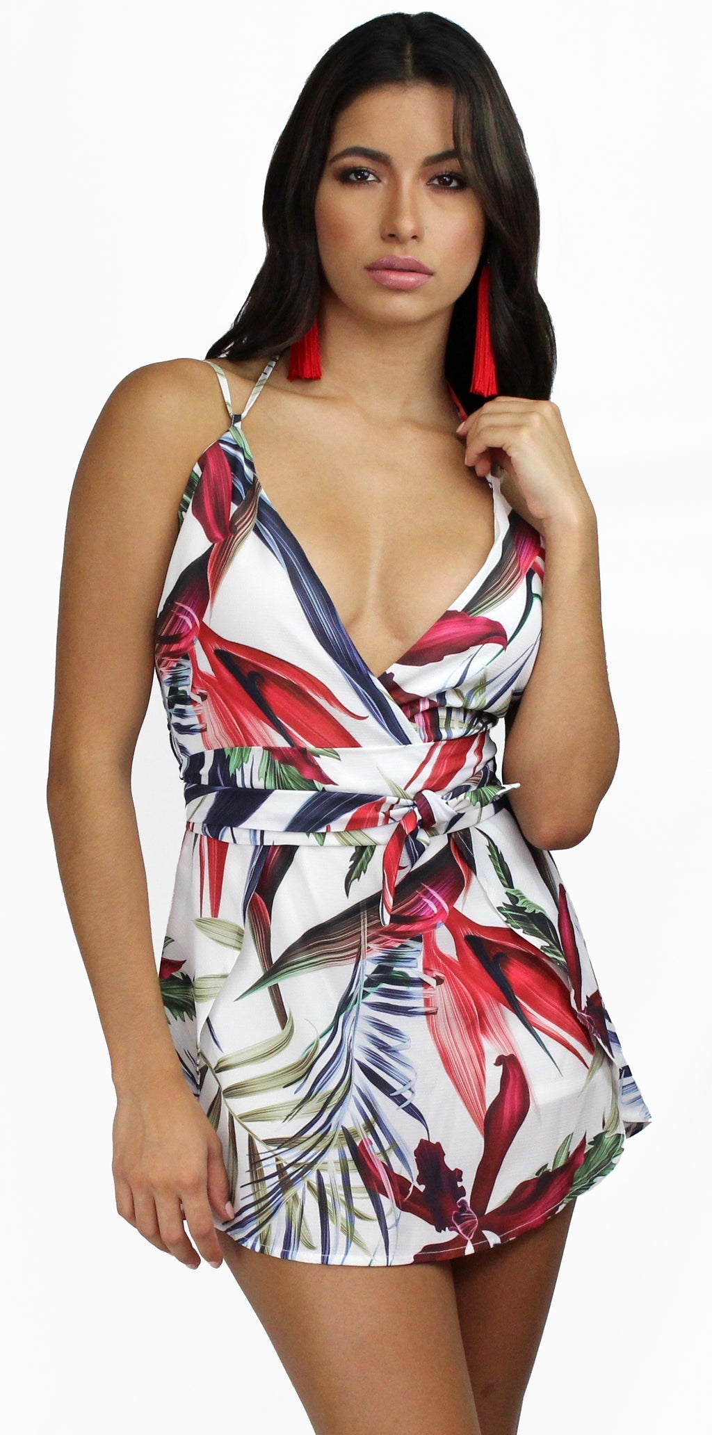 Tropical Botanic Leaves Print Romper