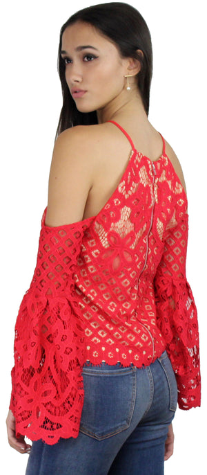 Good Day Red Lace Off-the-Shoulder Top