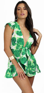 Tropical Vibes Green Print Tie Romper