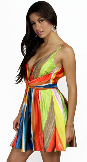 Only in Dreams Stripes Print Satin Dress