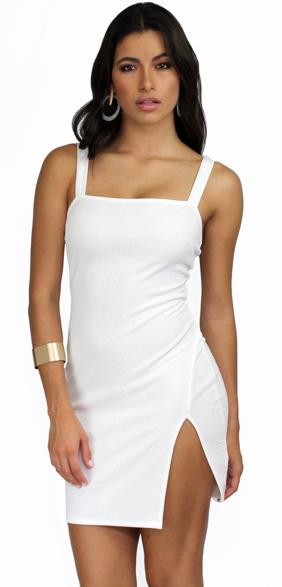 Steal Your Attention White Bodycon Mini Dress