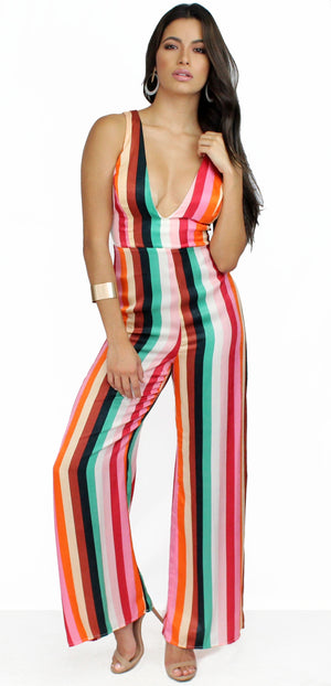 Weekend-Worthy Colorful Stripes Jumpsuit