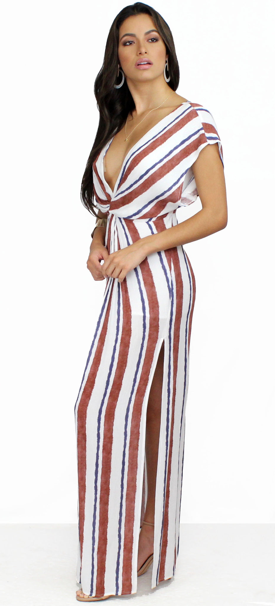 Coastal Grooves White & Rust Striped Maxi Dress