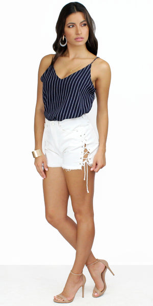 Adrift Navy and White Striped Tank Top