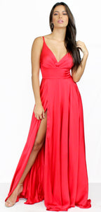Always On Point Red Satin Formal Gown