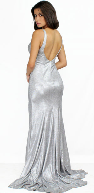 She's Gorgeous Silver Shinny Formal Gown