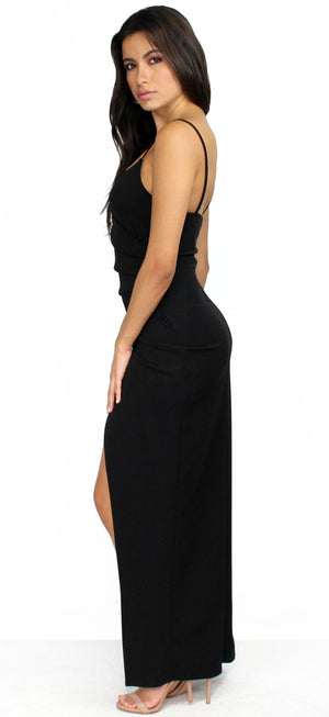 Power of Wow Draped Black Formal Dress