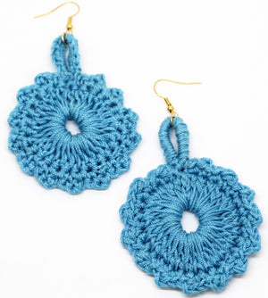 Melodious Crochet Blue Earrings