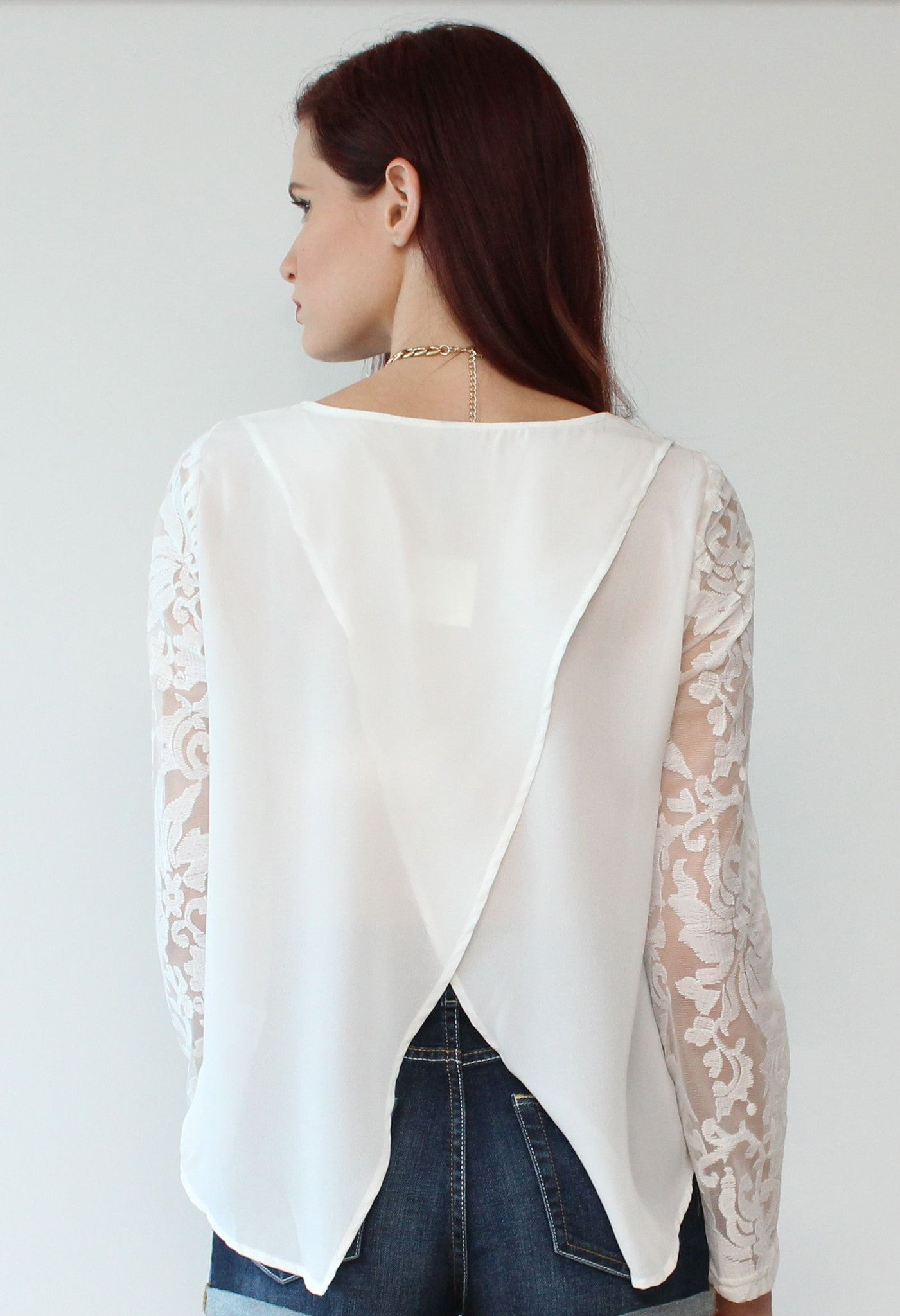 Very Extraordinary White Lace Long Sleeves Top