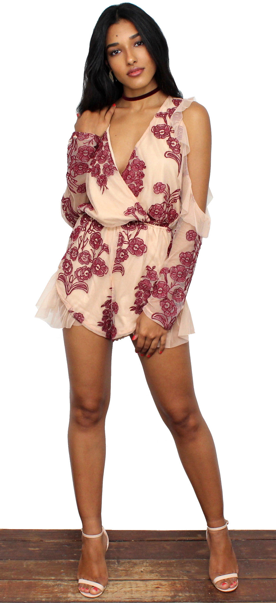 Picking Wildflowers Nude Embroidered Romper