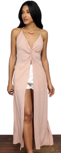Mutual Attraction Nude Halter Maxi Top