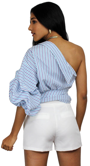 Someone Special Stripes One-Shoulder Top