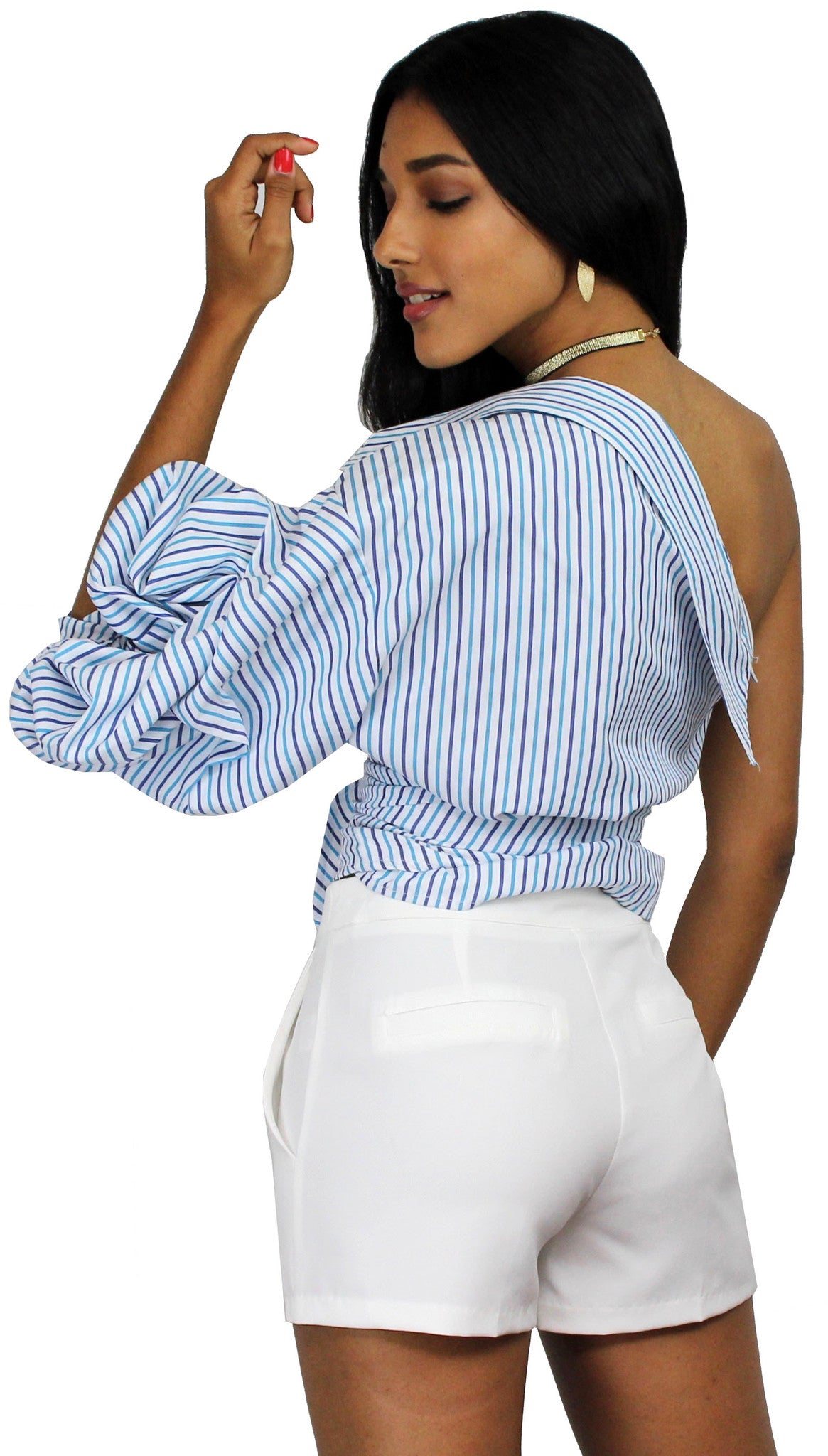 Always In Love White High-Waisted Shorts  Zil Boutique-4359