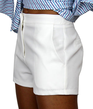 Always in Love White High-Waisted Shorts