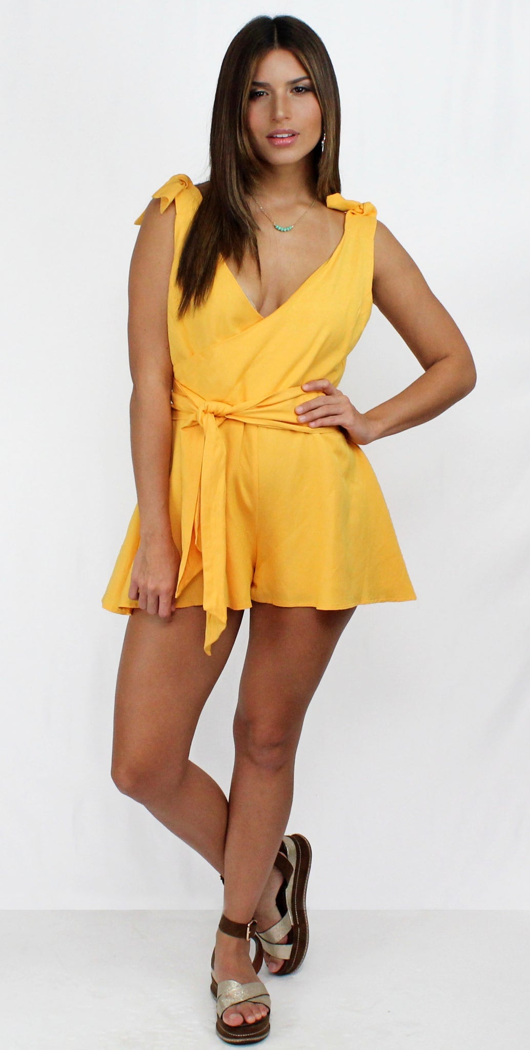 Yellow Devotion V-Neck & Ties Romper
