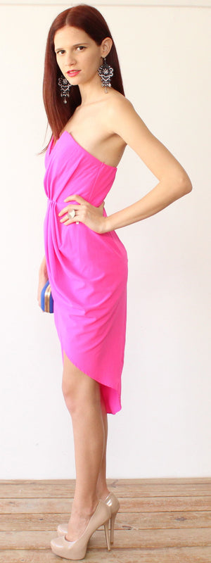 All Good Things Hot Pink Strapless Dress