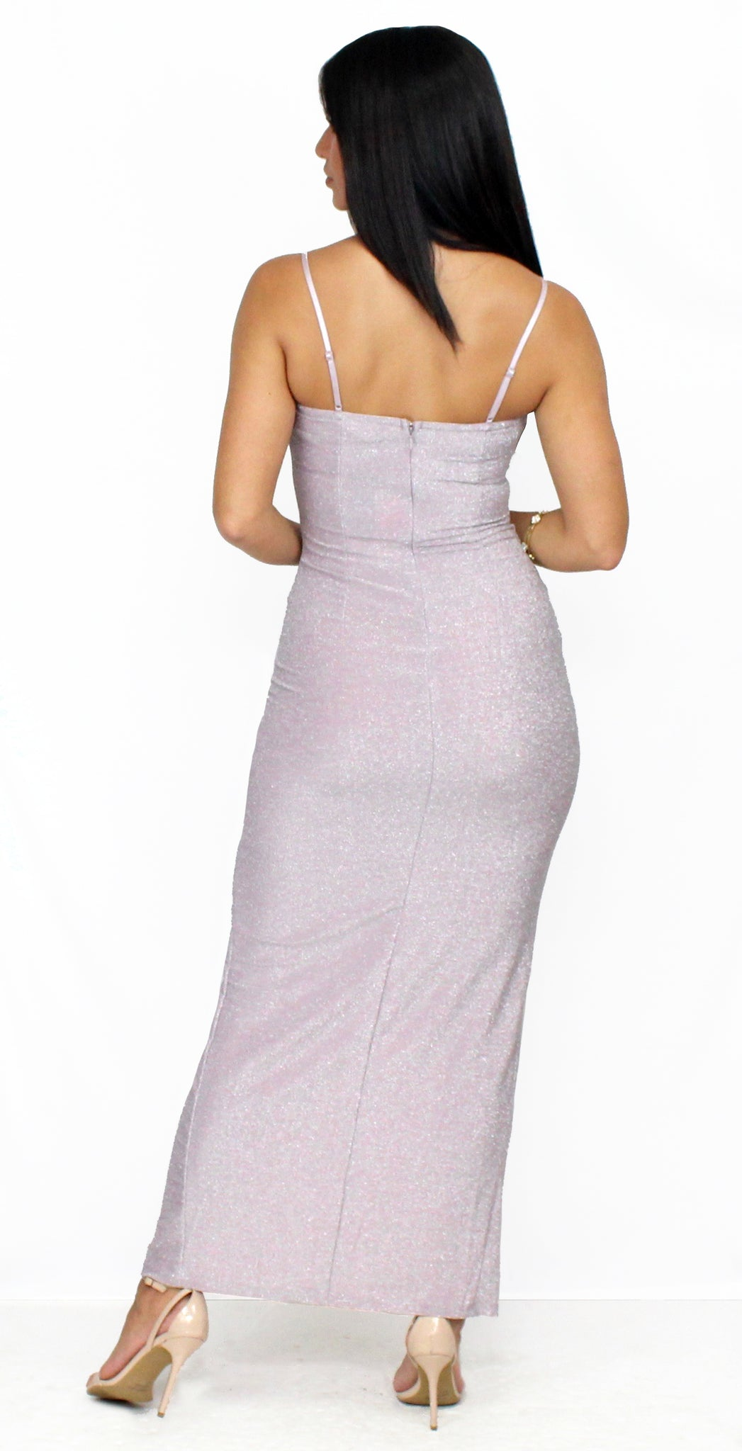 Forever Your Girl Metallic Pink Midi Dress