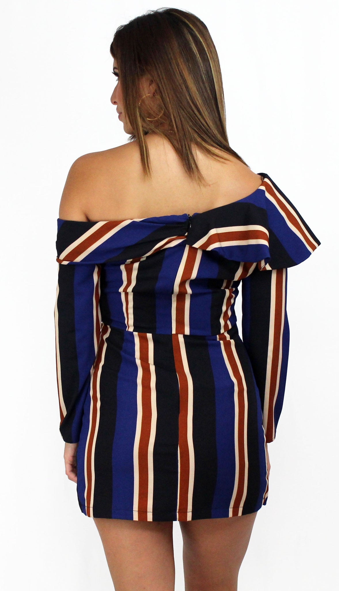 One Upon a Midnight Stripes Sleeves Dress