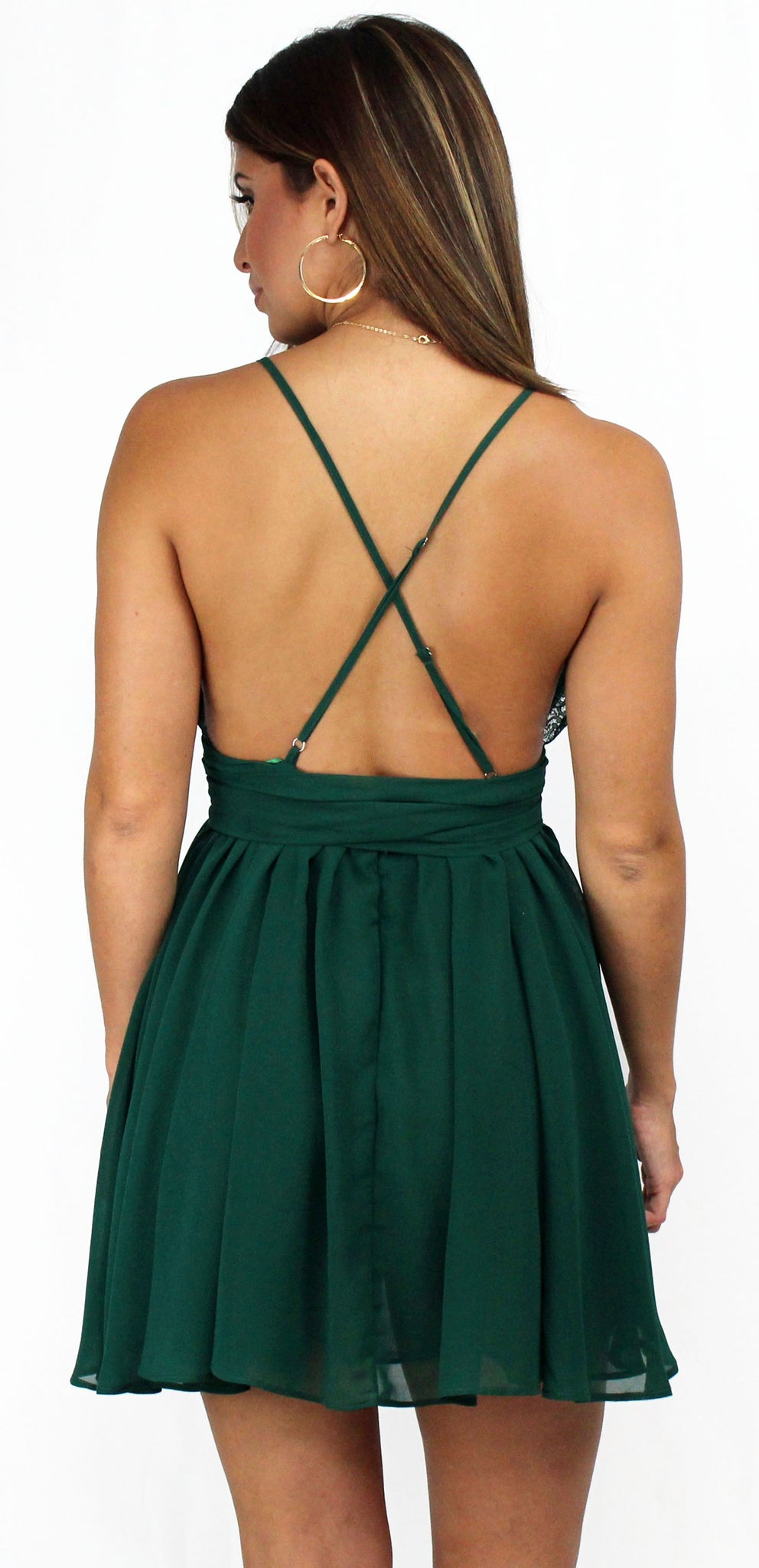 Tell Me Chiffon Green Skater Dress