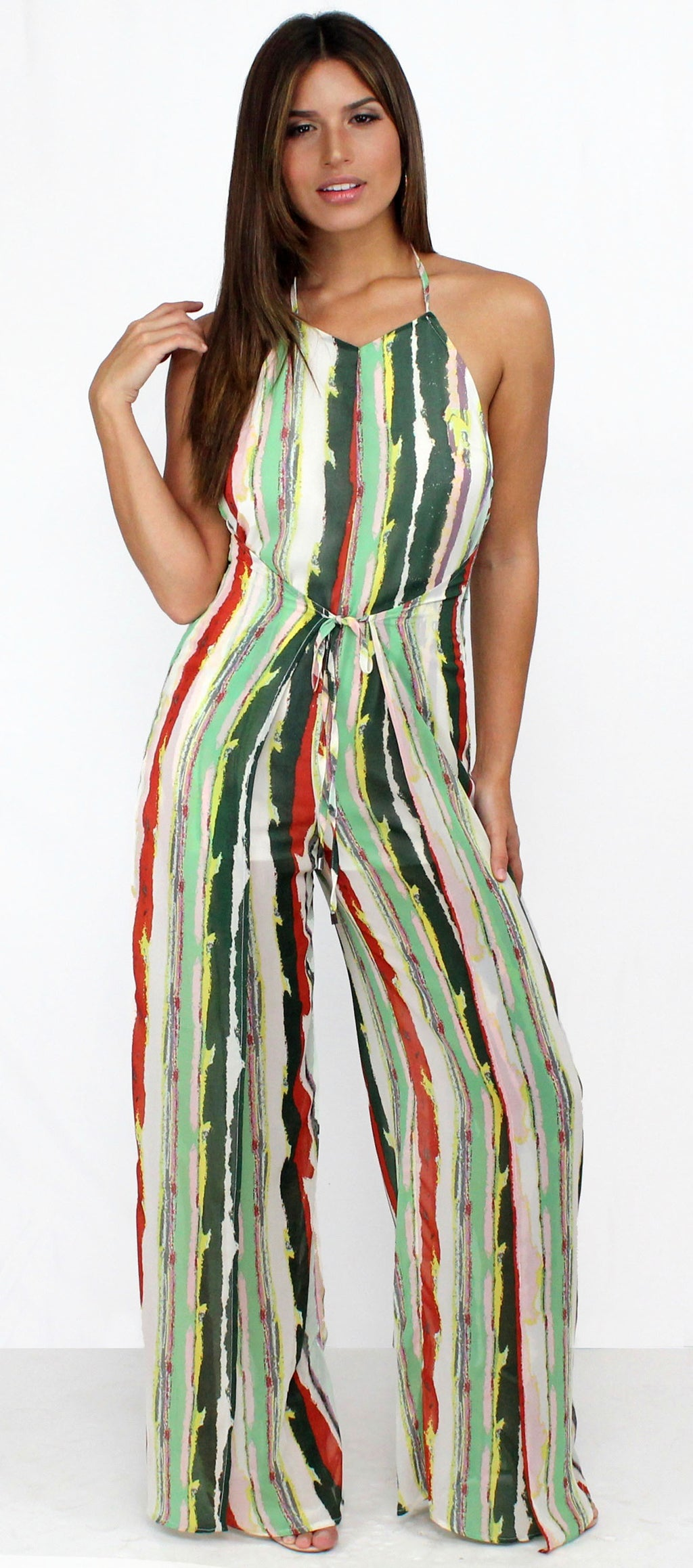 Over the Green Stripes Tie-Front Jumpsuit