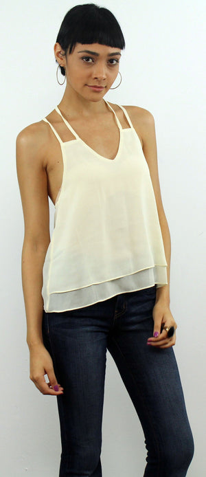 Cream Crossed Back Top