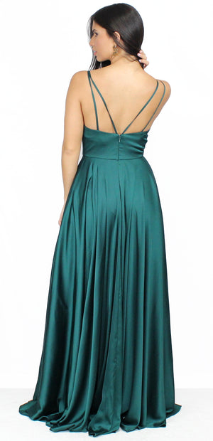 Always On Point Emerald Satin Formal Gown