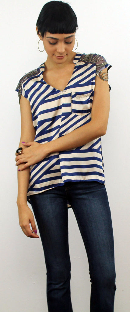 Stripes Ivory & Navy Top