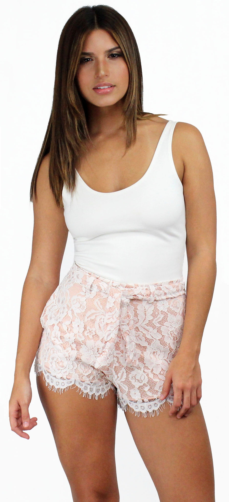 Out and About Lace High Waist Shorts