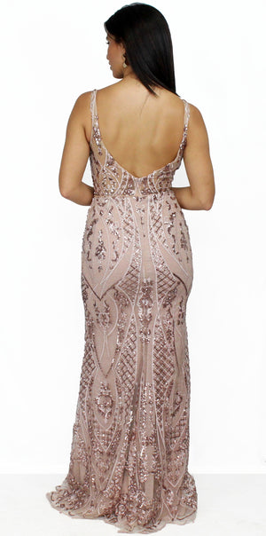 Pure Beauty Rose Gold V-Neck Formal Gown