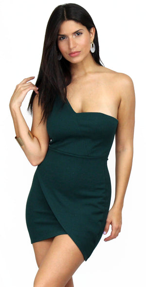 Total Appeal Hunter Green One-Shoulder Dress