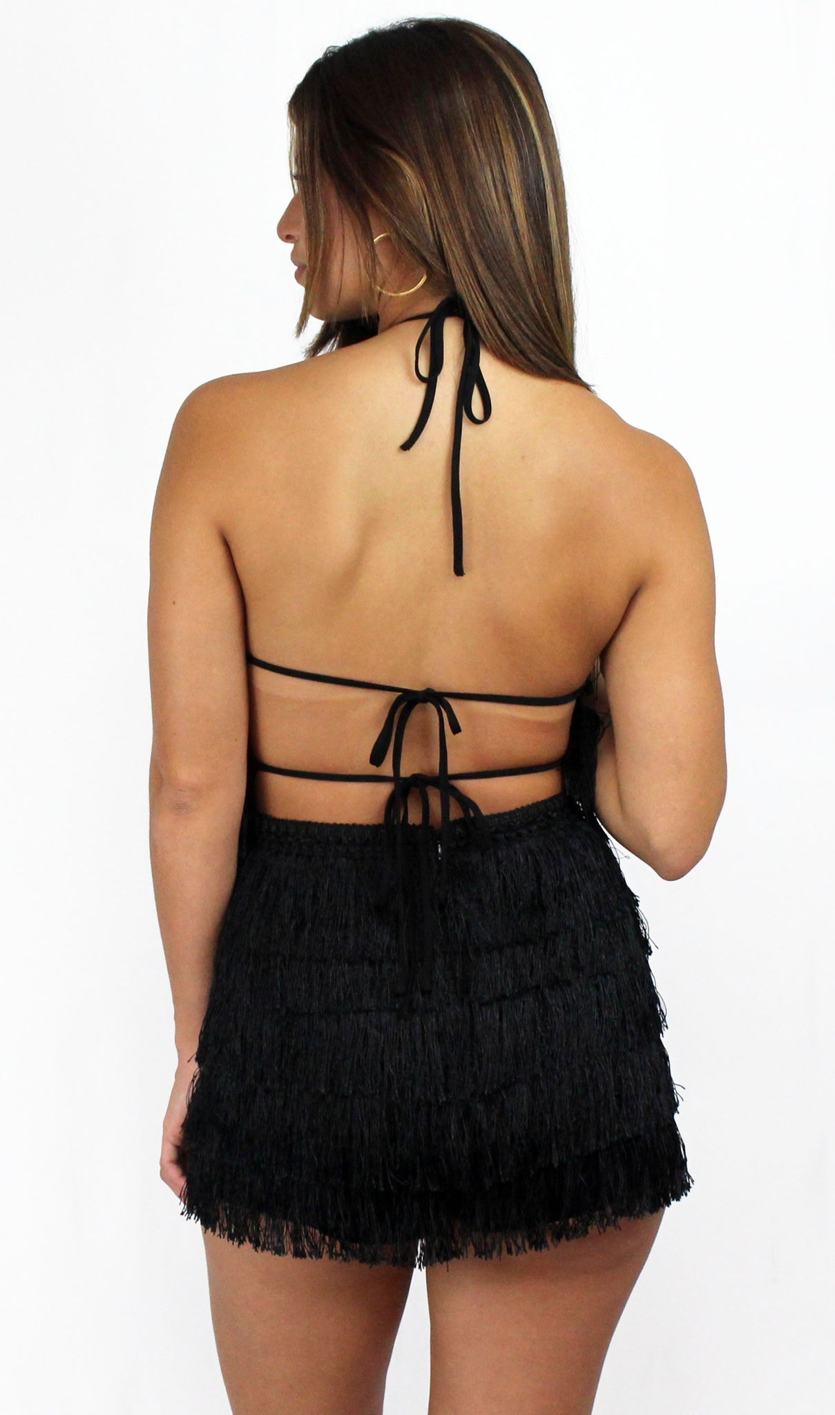 Tiki Tiki in Black Fringes Halter Romper