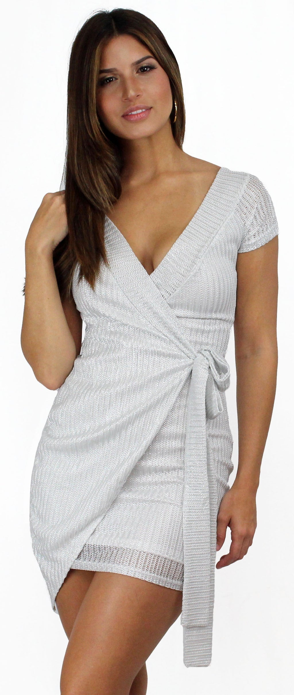 Love and Luster Silver Wrap Bodycon Dress