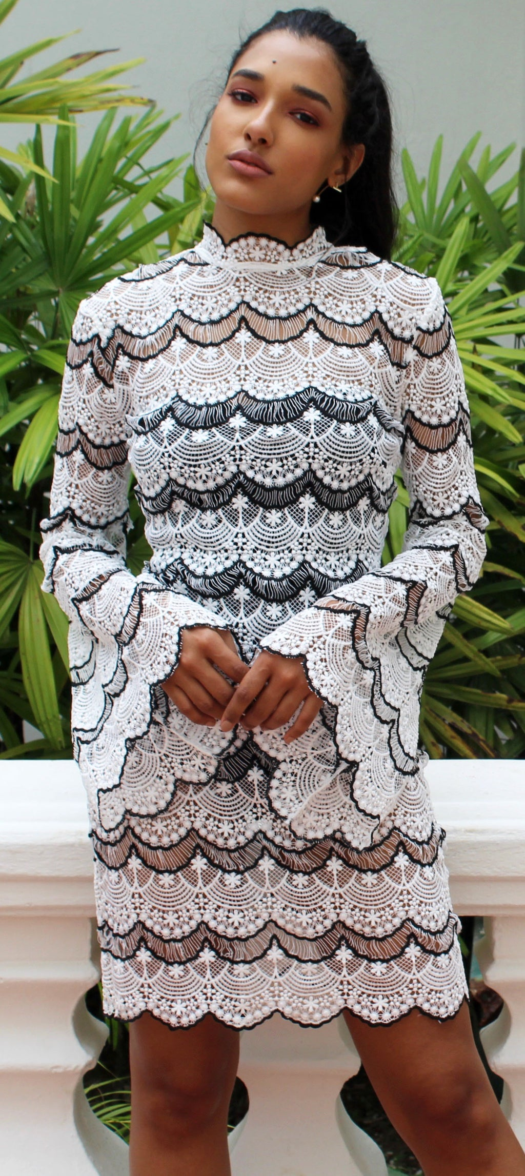 Life is a Dream in White Lace Sleeves Dress