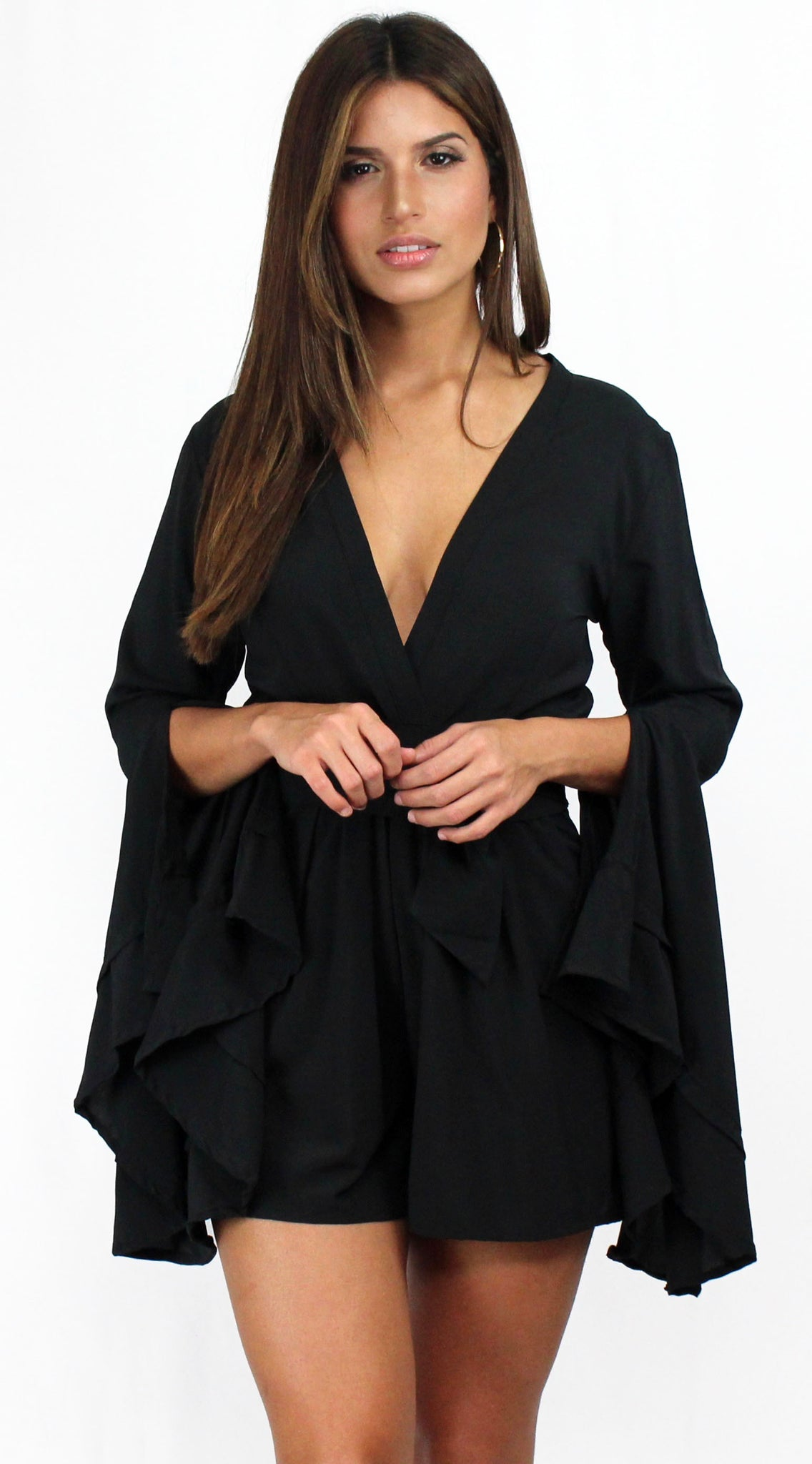 Love Ruffles Sleeves in Black Romper