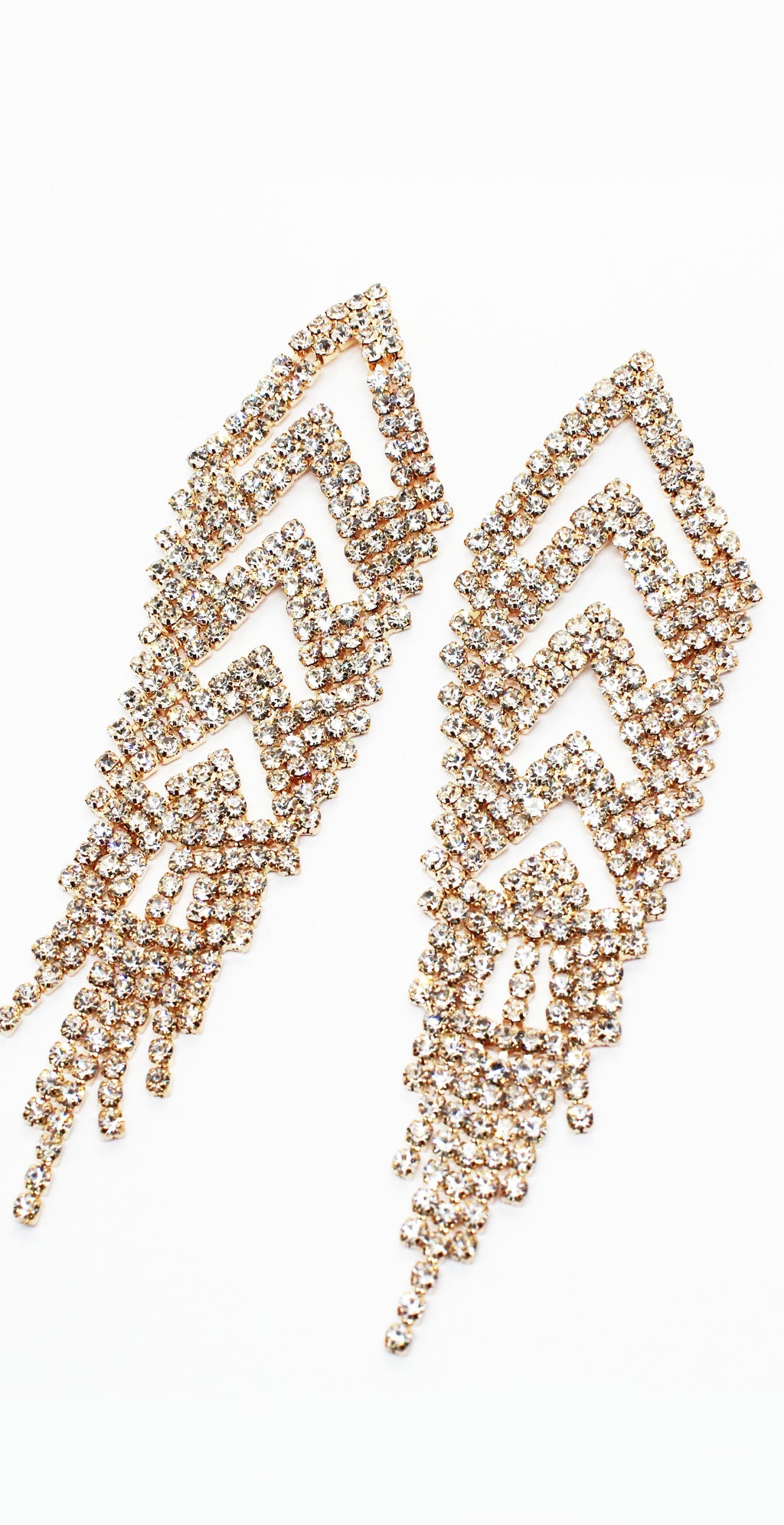 Too Glam with the Gold Rhinestone Earrings