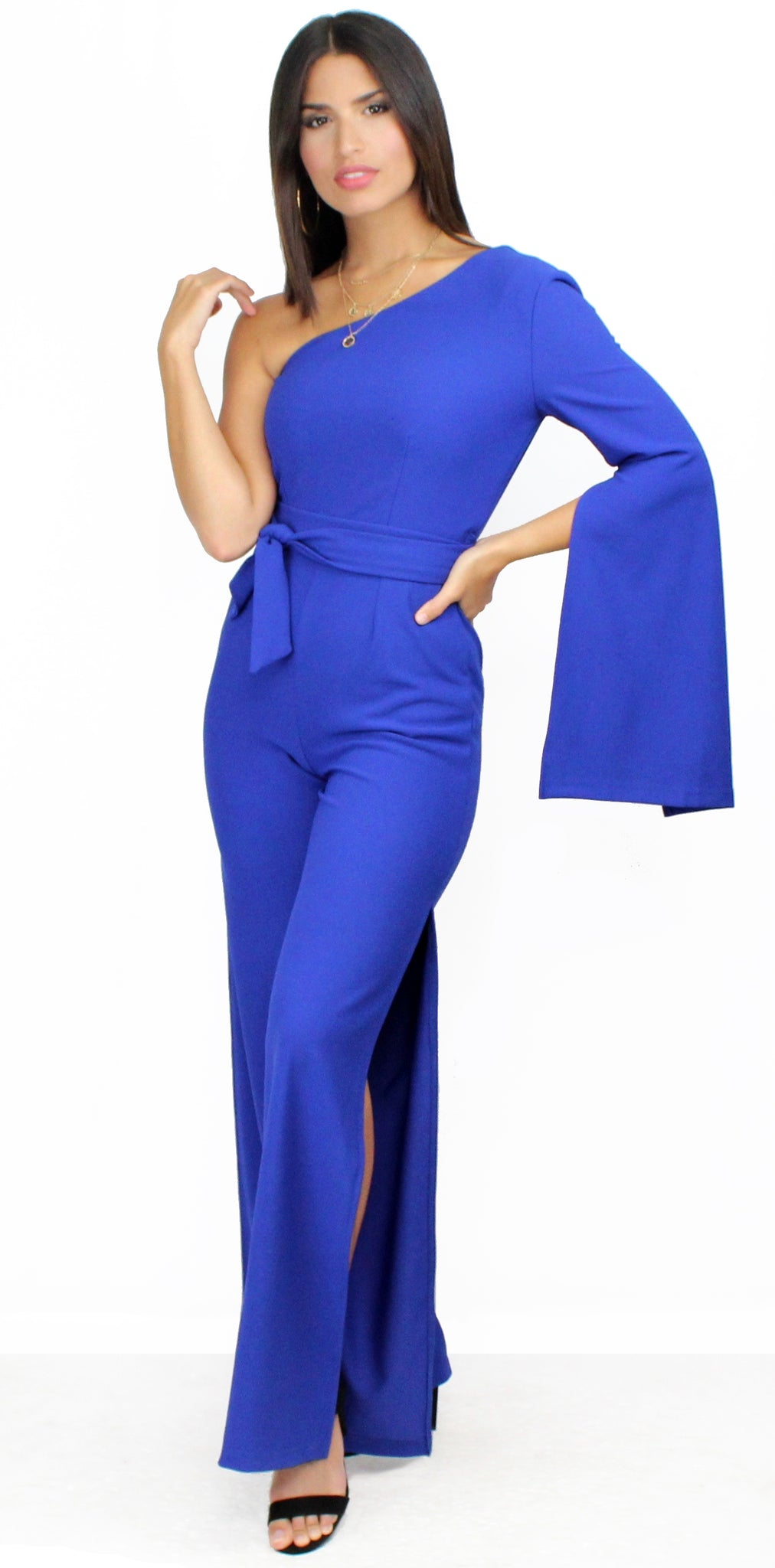 Divine Dream Royal Blue One-Shoulder Jumpsuit