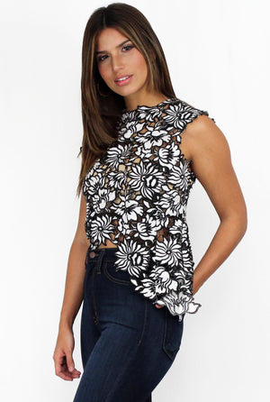 Lasting Love Black & White Crochet Top
