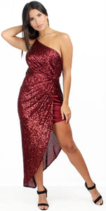 Persuasion Wine Sequins One-Shoulder Midi Dress