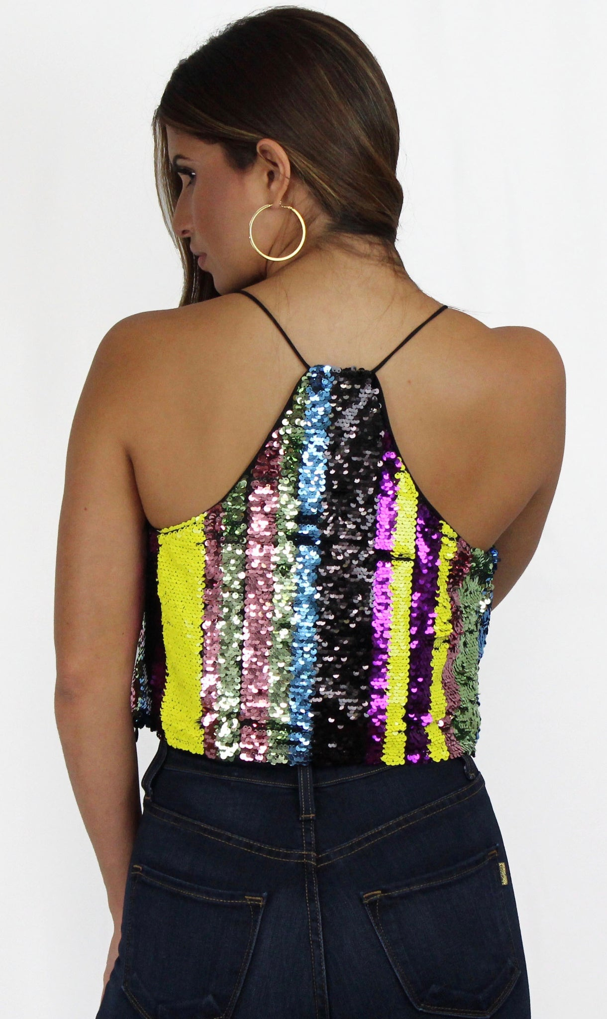 Stripes Glam Colorful Sequins Crop Top