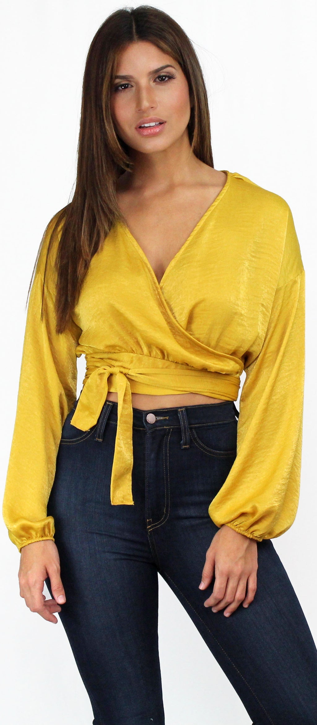 Simply Amazing Mustard Satin Blouse