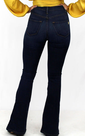 Love Dark Wash High-Waisted Flare Bottom Jeans